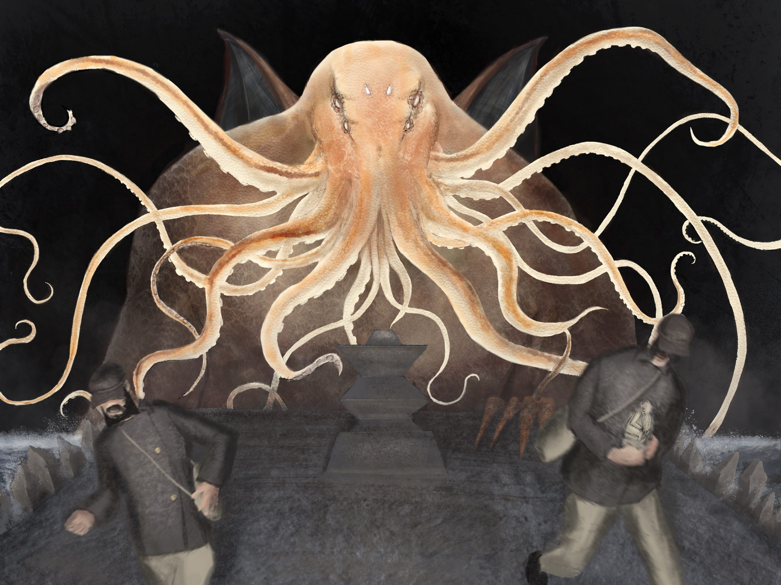 The Awakening of Lovecraft's Cthulhu - peinture numerique de Sebastien Loghman